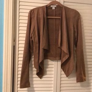 Katherine Barclay tan faux suede jacket